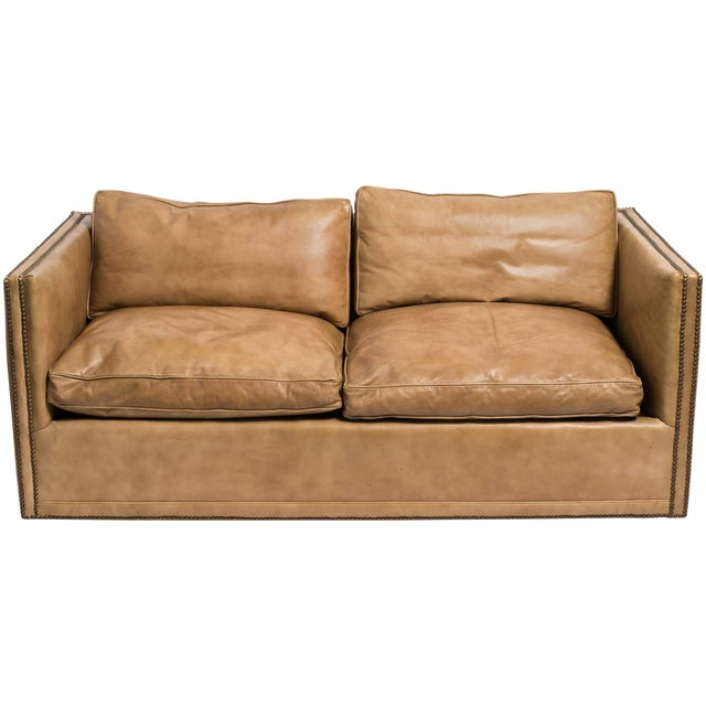 1970s Vintage Leather Nailhead Cube Settee For Sale - Image 10 of 10