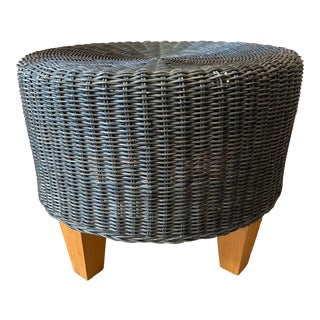 1960s Woven Wicker Bamboo Ottoman For Sale