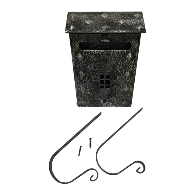 New Tudor Black/Pewter Metal Mailbox For Sale