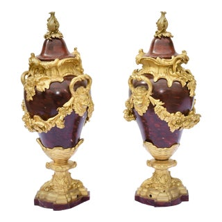 19th C. French Rouge Marble and Dore Bronze Urns For Sale
