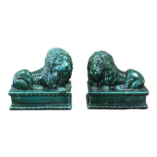 1930s Italian Hand-Painted Green Ceramic Lion Bookends - a Pair For Sale