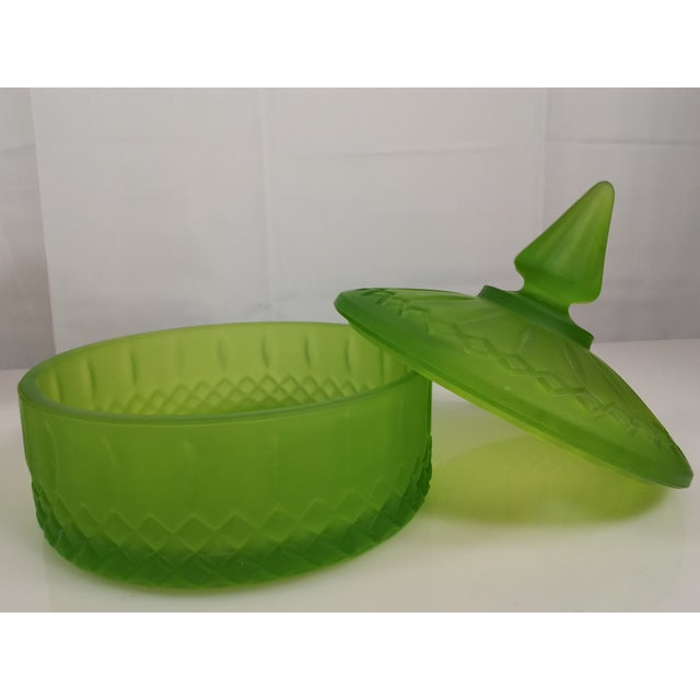 Indiana Glass Green Satin Candy Dish - Image 4 of 10