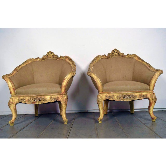 Vintage French Louis XV Style Carved Bergeres - a Pair - Image 2 of 11