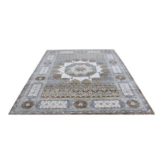 "Mamluk Style Hand-Knotted Transitional Geometric Brown, Grey Blue and Green Eclectic Rug - 9'1"" X 11'11"" For Sale"