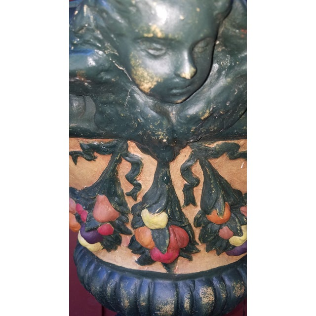1980s Vintage Handpainted Delle Robia Style Tall Fiberglass Planter Urn on Plinth For Sale - Image 5 of 6