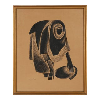 """Original Mid 20th C. Abstract Figural Lithograph - Pencil Signed-El Hussein Fawzi-""""Filling Jar on the Nile"""" For Sale"""