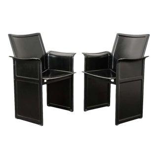 "20th Century Italian Leather ""Korium"" Armchairs - a Pair For Sale"