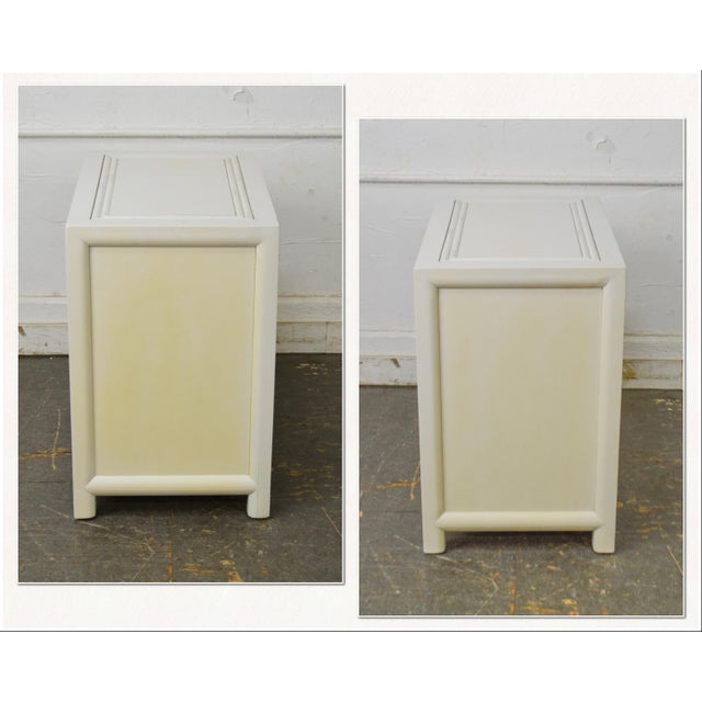 *STORE ITEM #: 18279-fwmr Century Vintage Pair of Faux Bamboo White Painted 3 Drawer Chests Nightstands AGE / ORIGIN:...