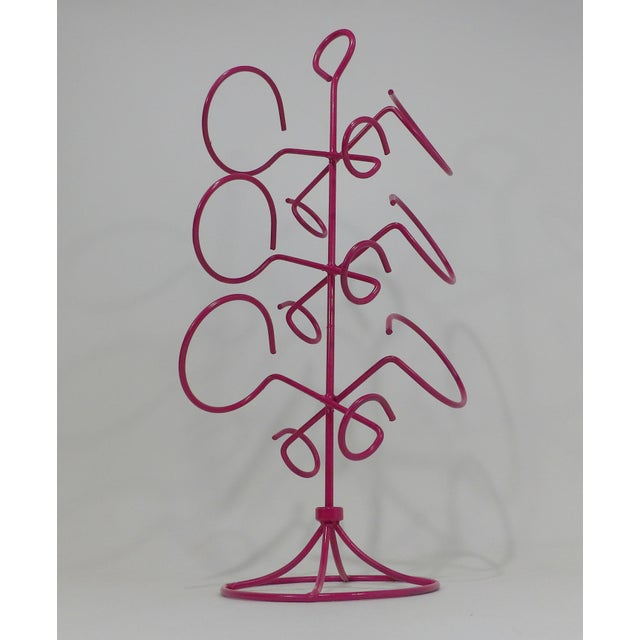 Early 21st Century Contemporary Pink Metal Wine Bottle Rack For Sale - Image 5 of 7