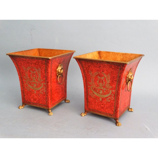 Orange Pair Vintage Italian Chinoiserie Tole Urns, Cachepots For Sale - Image 8 of 8