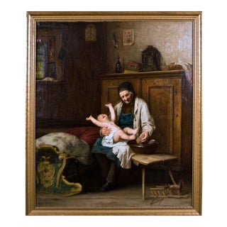 August Muller (1836-1885) Painting Oil on Canvas Washing the Baby 19th C For Sale