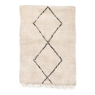 "Vintage Moroccan Beni Ourain Accent Rug - 2'9"" × 3'11"""