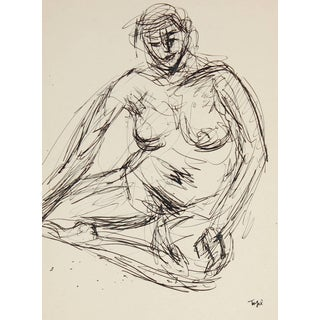 Jennings Tofel Expressionist Ink Nude Drawing, Circa Mid 20th Century For Sale
