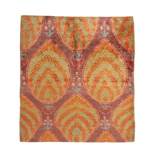 1970s Vintage Ottoman Floral Design Light-Green and Purple Silk Rug - 5′11″ × 6′8″ For Sale