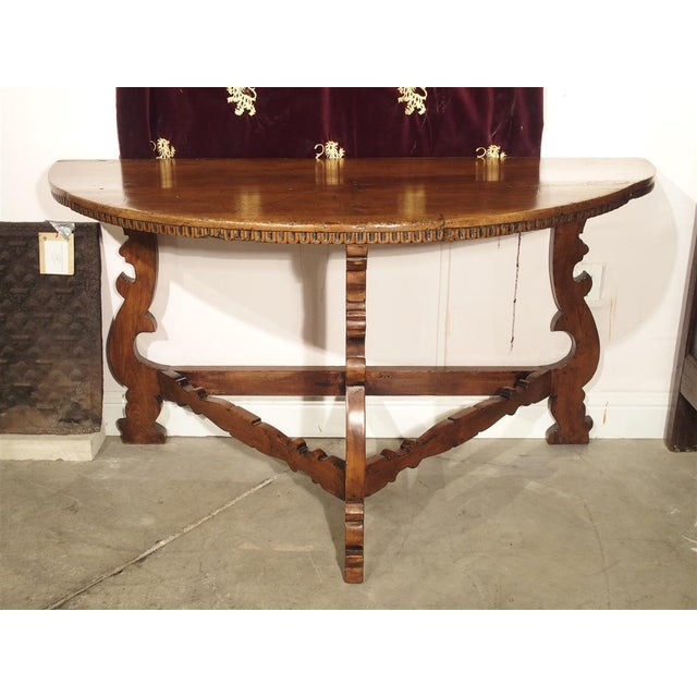 18th Century Italian Walnut Wood Demi Lune Console Table For Sale - Image 11 of 13