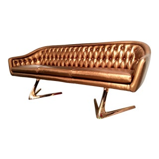 Copper Rose Gold Chromcraft Sculpta Sofa For Sale