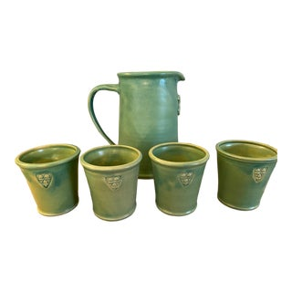 Arts and Crafts Ceramic Pitcher With Cups - 5 Piece Set For Sale