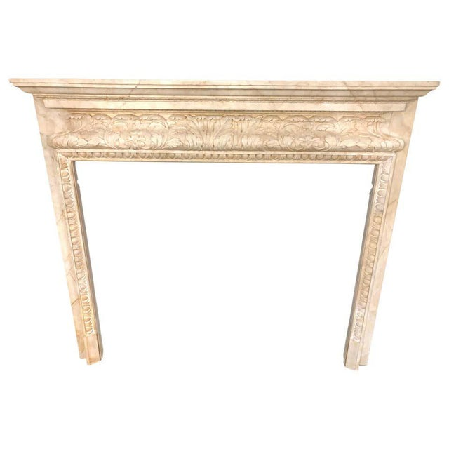 Swedish Painted and Distressed Decorated Fire Surround in Faux Marble Finish For Sale - Image 13 of 13