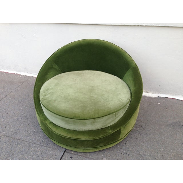 Milo Baughman Emerald Green Swivel Loveseat - Image 5 of 8