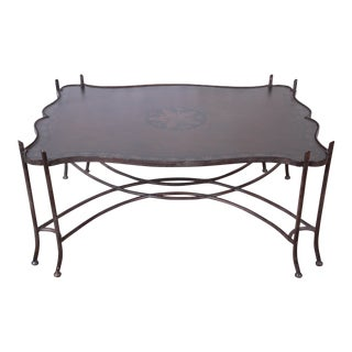 Spanish Revival Leather and Sculptural Forged Steel Cocktail Table by Sarreid Ltd. For Sale