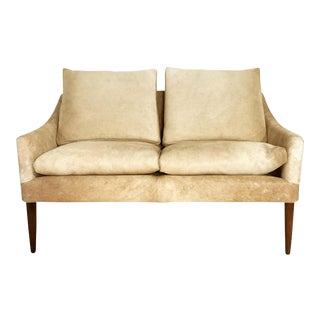Forsyth One of a Kind Danish Style Loveseat in Brazilian Cowhide For Sale
