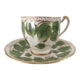 Image of 1950s English Traditional Green and Gold China Teacup & Saucer - 2 Pieces For Sale