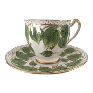 1950s English Traditional Green and Gold China Teacup & Saucer - 2 Pieces For Sale