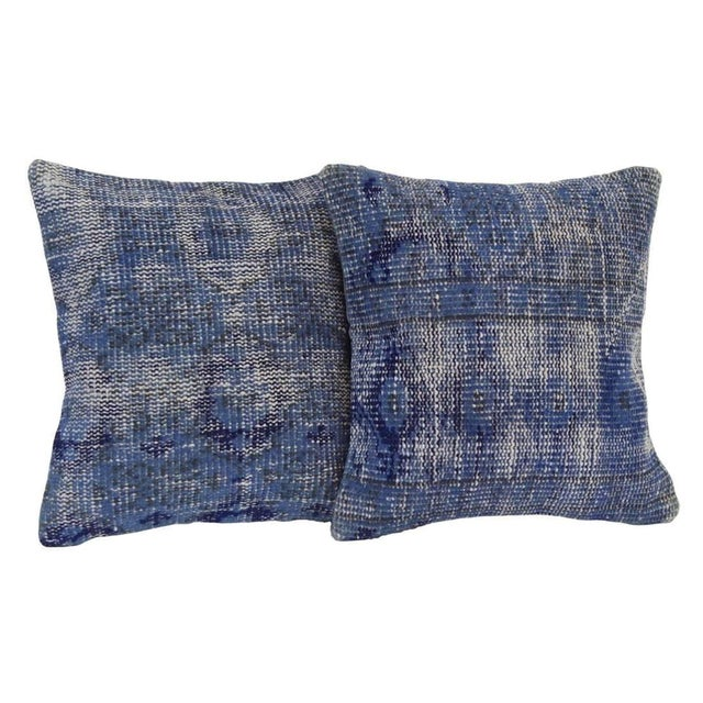 Blue Handmade Over-Dyed Rug Pillow Covers - A Pair For Sale