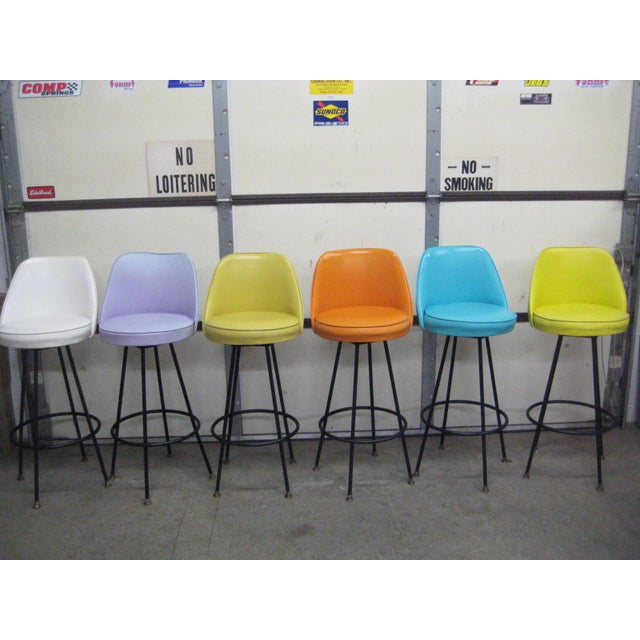 Vintage Mid Century Atomic Bar Stools - Set of 6 - Image 2 of 11