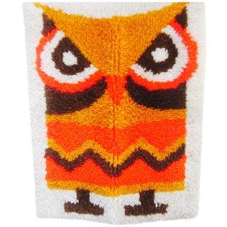 Retro Owl Latchook Rug - 1′7″ × 2′1″