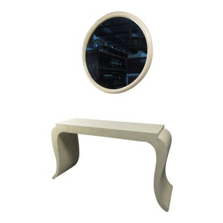 Karl Springer Style Console Table With Vanity Mirror For Sale