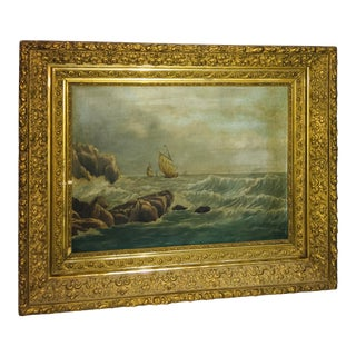 Ship at Sea Rocky Shore Oil on Canvas Painting For Sale
