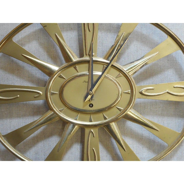 Mid 20th Century Vintage Mid 20th C. Modern Brass Wall Clock With Key-Phinney Walker Eight Day Clock For Sale - Image 5 of 6