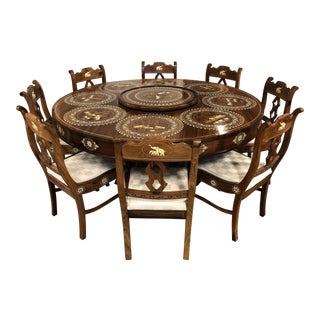 Wood + Bone Inlaid Dining Table + Eight Chairs From India For Sale