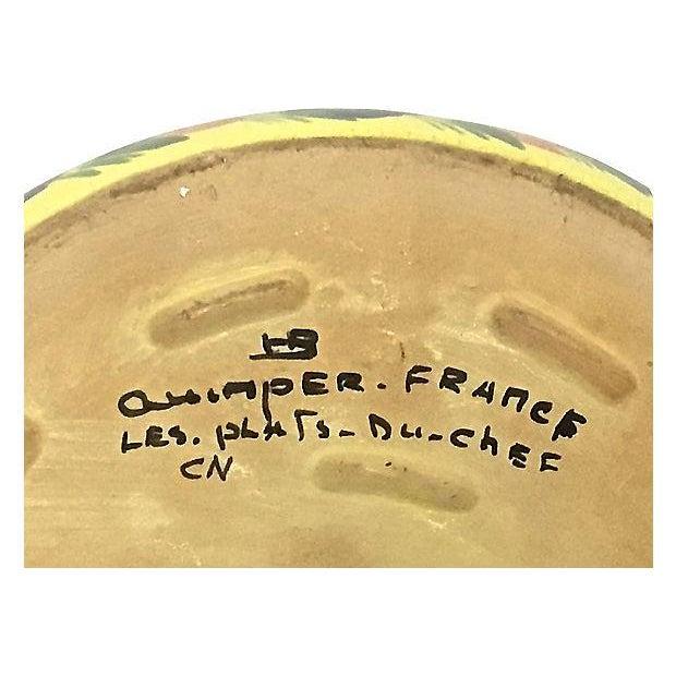 Vintage French Quimper Hiker Serving Bowl For Sale - Image 5 of 6