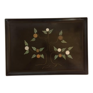 Vintage Coin Tree Serving Tray by Couroc