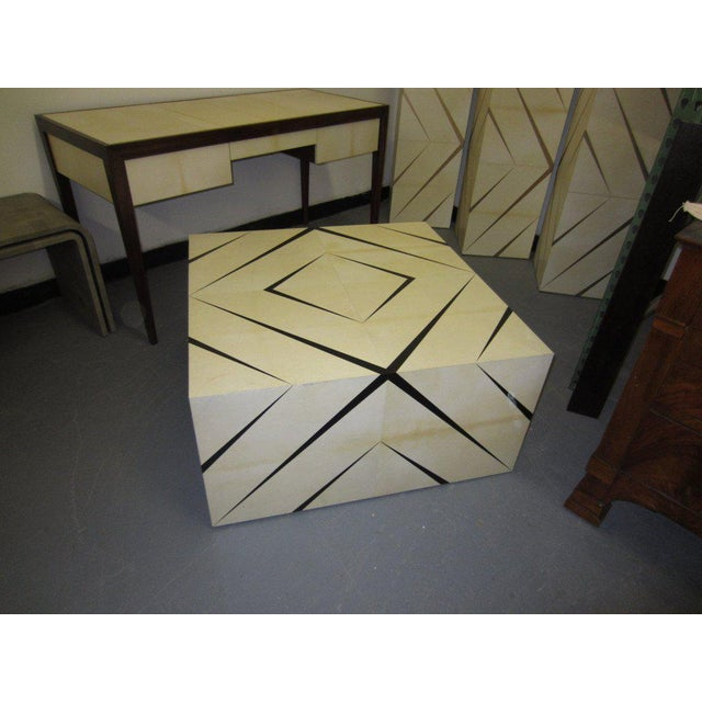 Modern Custom Parchment Enamel Coffee Table For Sale - Image 3 of 5
