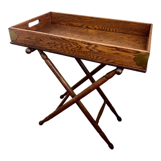 Antique English Oak Folding Butlers Tray Bar For Sale
