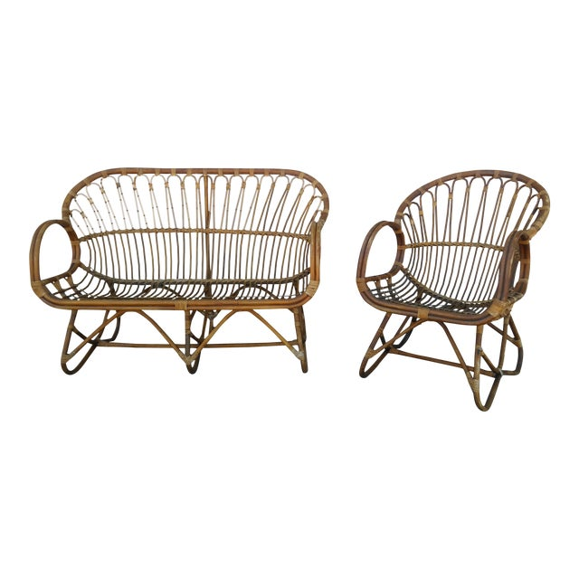 Vintage Franco Albini Rattan Loveseat and Chair - a Pair For Sale