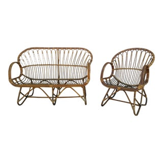 Vintage Franco Albini Style Rattan Scoop Chair & Loveseat - A Pair