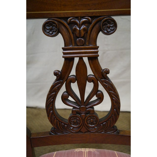 Kindel Neoclassical Mahogany Lyre Back Chairs - 4 - Image 7 of 9