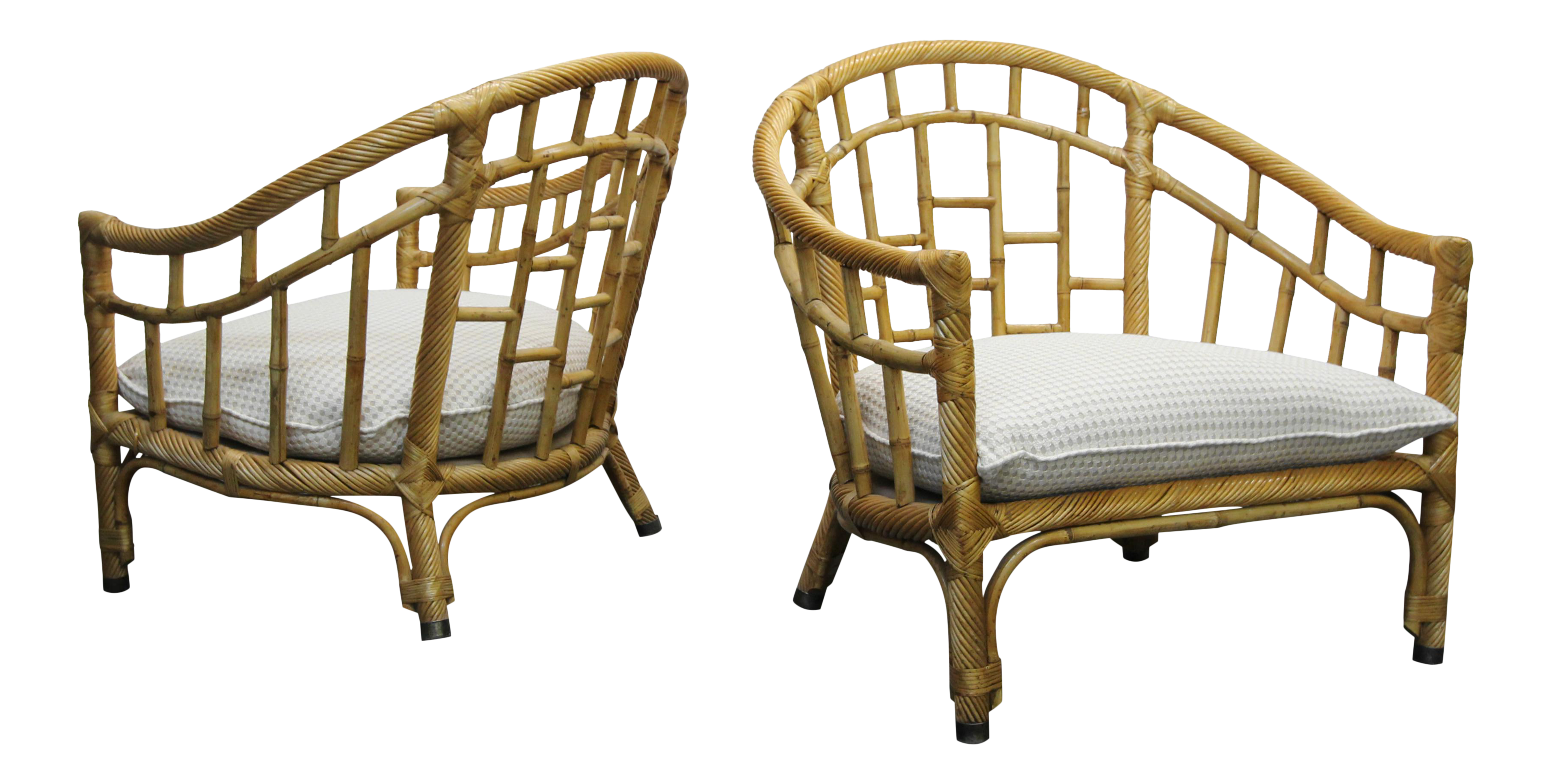 Pair Of Oversized Barrel Back Bamboo U0026 Rattan Chairs By Ficks Reed