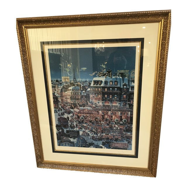 "1980s Yamagata Lithograph Titled "" City Lights"" For Sale"