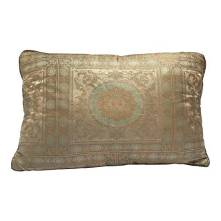 Green Silk Pillow Custom-Made From an Indian Wedding Sari For Sale