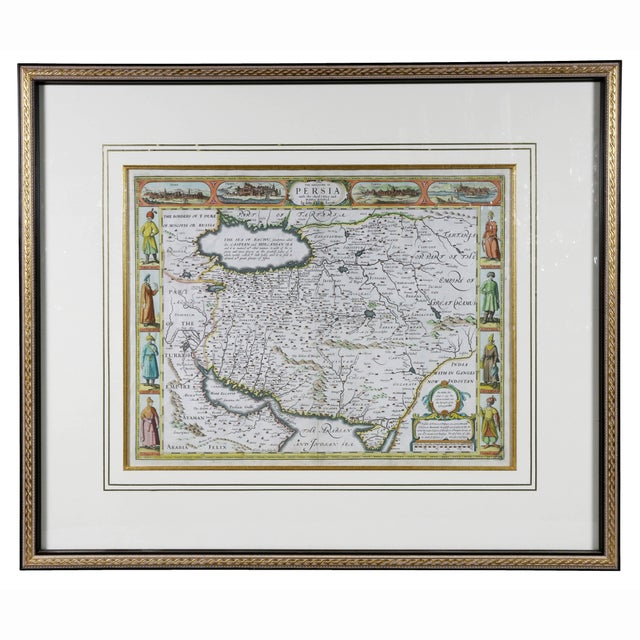 Framed Hand Colored Map of Persia by John Speed For Sale - Image 10 of 10