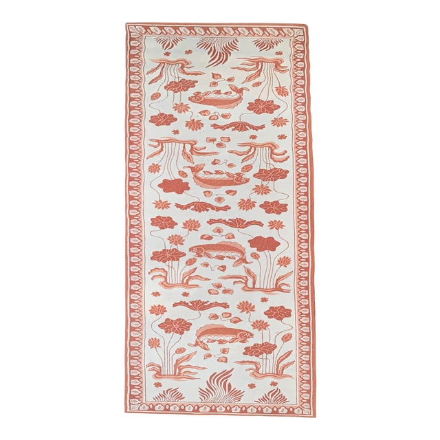 Custom Edward FieldsLong Coral and Cream Runner- 5′6″ × 19′ For Sale