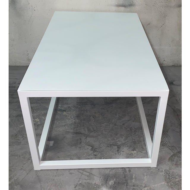 About New modern rectangular white table with metal top. Indoor or outdoor. Wrought iron. Additional Options Sizes Colours...