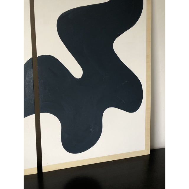 Blue Navy and White Abstract Diptych on Wood For Sale - Image 8 of 11