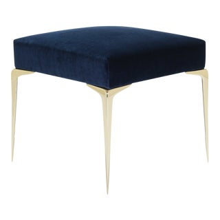 Colette Petite Brass Ottoman in Navy Velvet by Montage For Sale