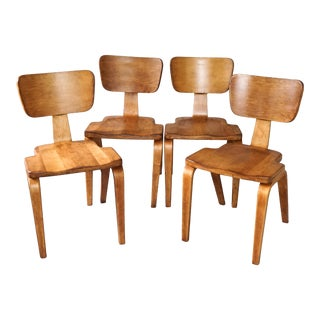 Mid Century Thonet Maple Bentwood Dining Chairs - Set of 4 For Sale